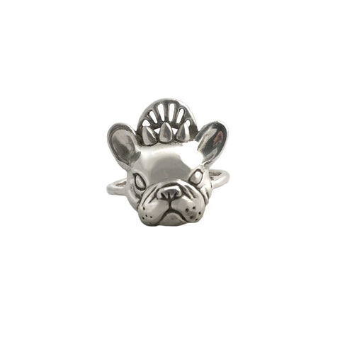 Crowned French Bulldog Ring in Gold