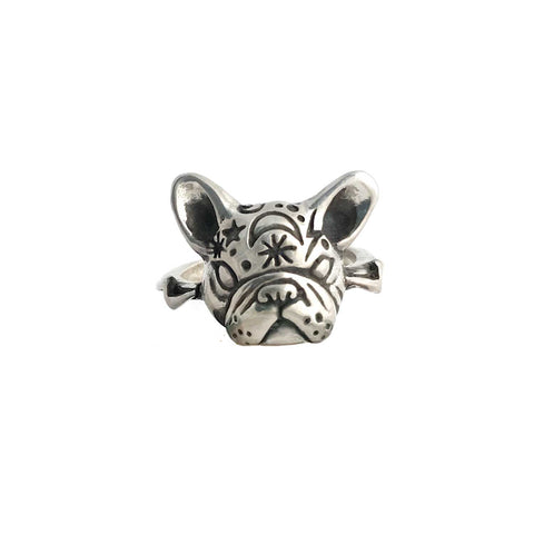 French Bulldog with Flowers Ring in Gold