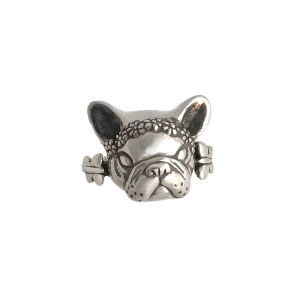 French Bulldog with Flowers Ring