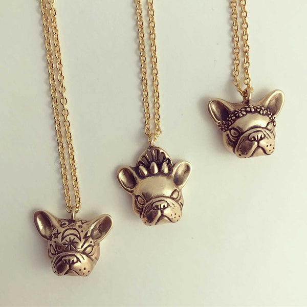 Frenchie Necklace with Flowers
