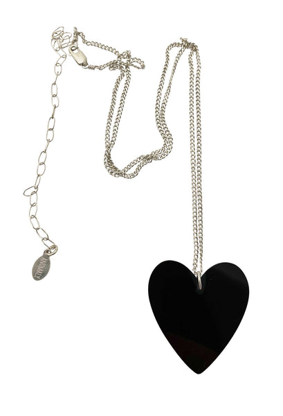 Heart Necklace in Onyx large silver- Ready to Ship