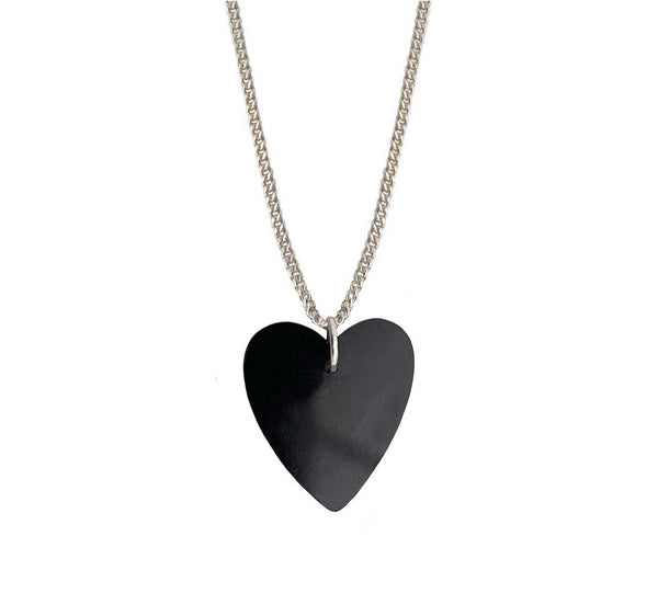 Onyx Heart Necklace Small in silver