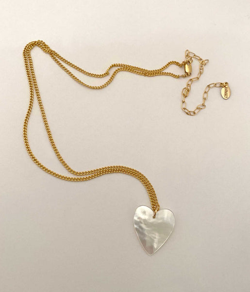 Mother of Pearl Heart Necklace Small in gold