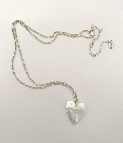 Mother of Pearl Heart Necklace Small in silver- Ready to Ship