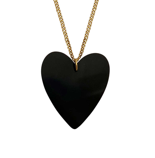 Heart Necklace in Onyx large silver
