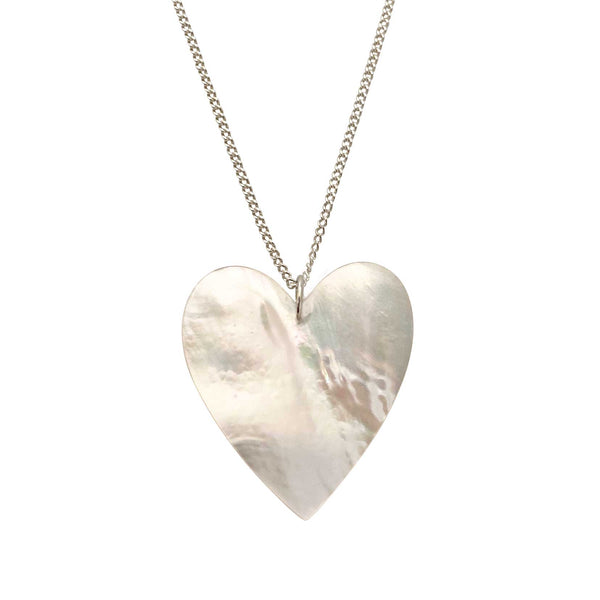 Heart Necklace in Mother of Pearl Large silver