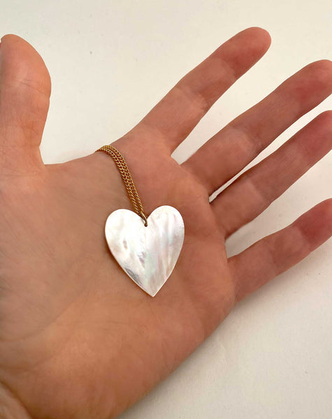 Heart Necklace in Mother of Pearl Large silver- Ready to Ship