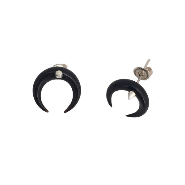 Crescent Moon Earrings with spikes black- Ready to Ship