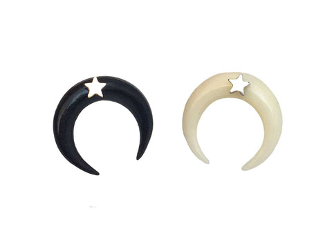 Crescent Moon Necklace Black with Star