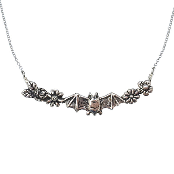 Bat and Flowers Necklace - Anomaly Jewelry