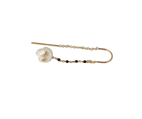 Pearl Skull Earrings with Black Enamel Chain in Gold