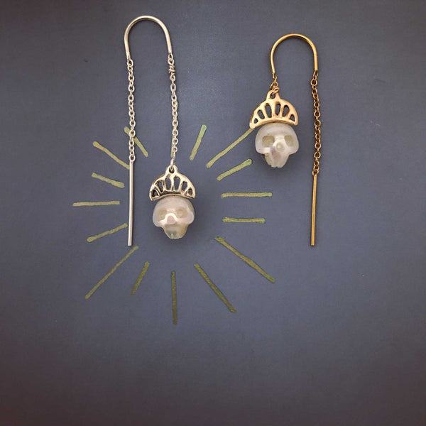 Pearl Skull Earrings with Crowns