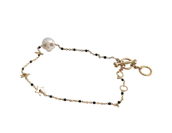 Pearl Skull Bracelet in silver and black- Ready to Ship