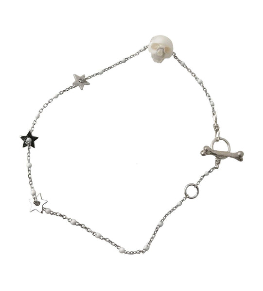 Pearl Skull Bracelet in silver and white- Ready to Ship