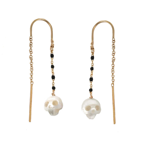 Pearl Skull Earrings with Black Enamel Chain- Ready to Ship