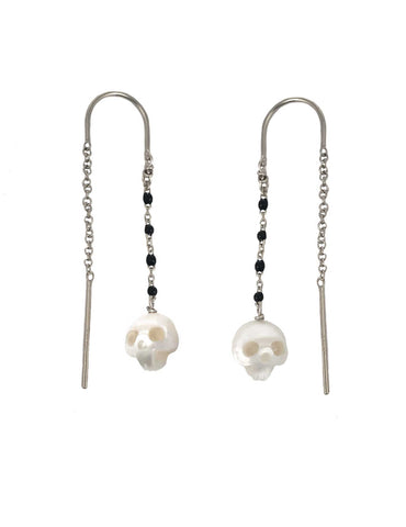 Pearl Skull Earrings Gold- Ready to Ship