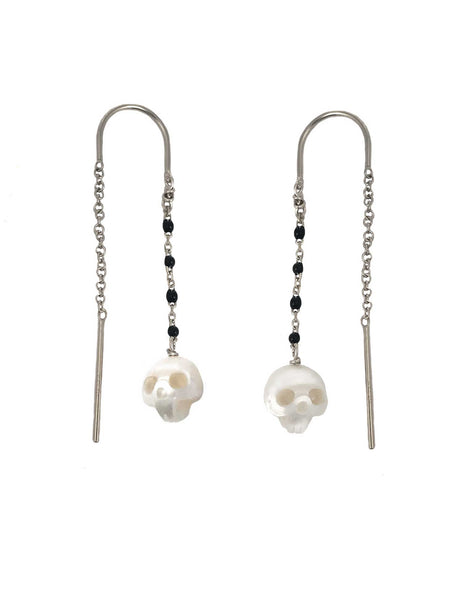 Pearl Skull Earrings with Black Enamel Chain