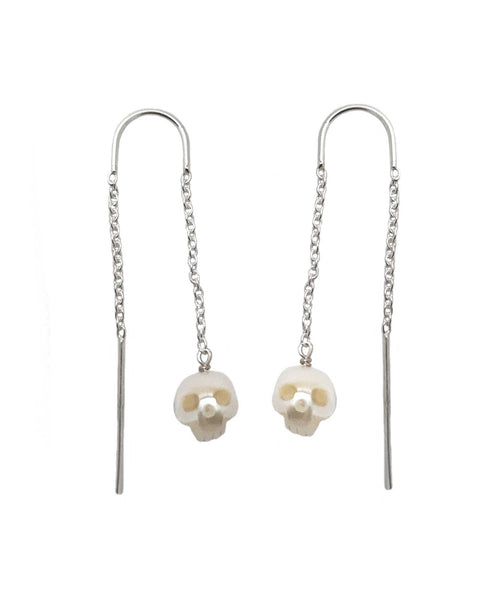 Pearl Skull Earrings Gold