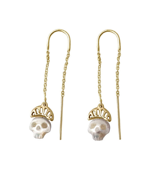 Pearl Skull Earrings with Crowns- Ready to Ship