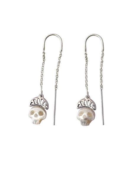 Pearl Skull Earrings with Crowns in Gold