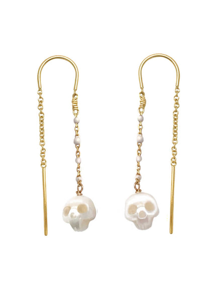 Pearl Skull Earrings with White Enamel Chain
