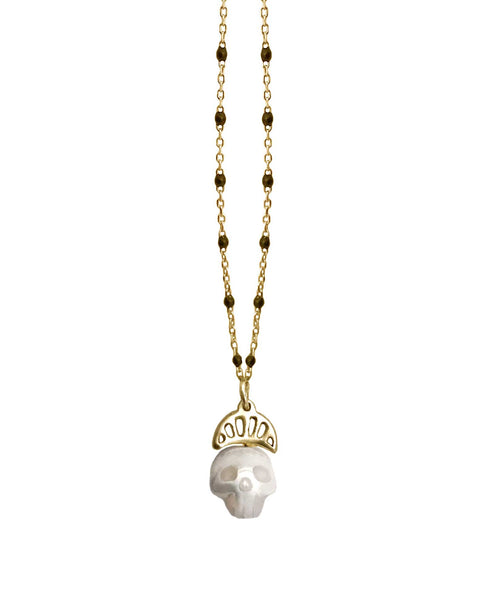 Pearl Skull Necklace with Crown in Gold- Ready to Ship