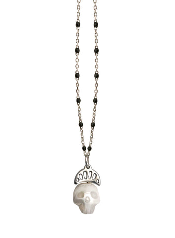 Pearl Skull Necklace with Crown in Gold
