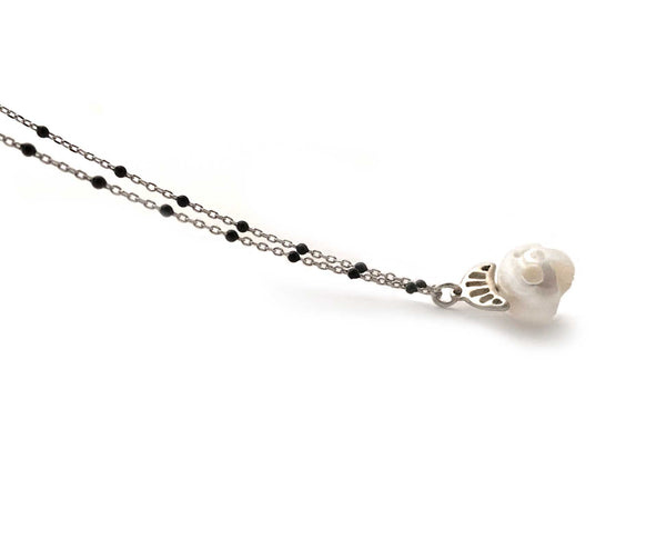 Pearl Skull Necklace with Crown in Silver
