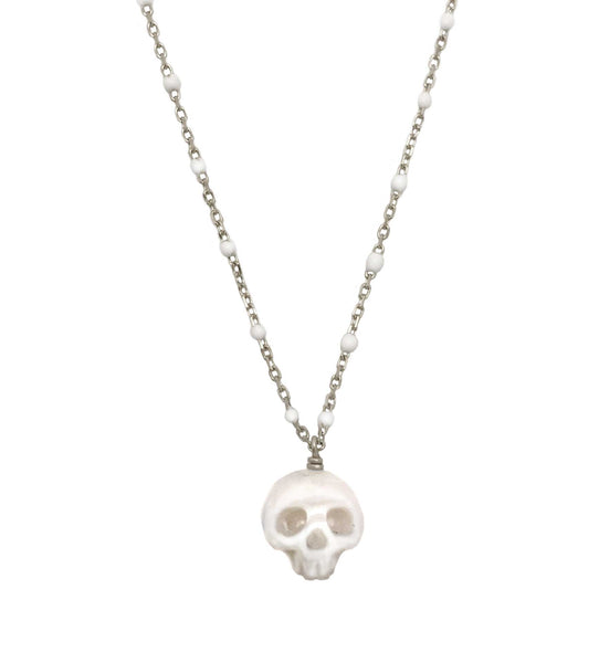 Pearl Skull Necklace with White Enamel Chain in Gold- Ready to Ship