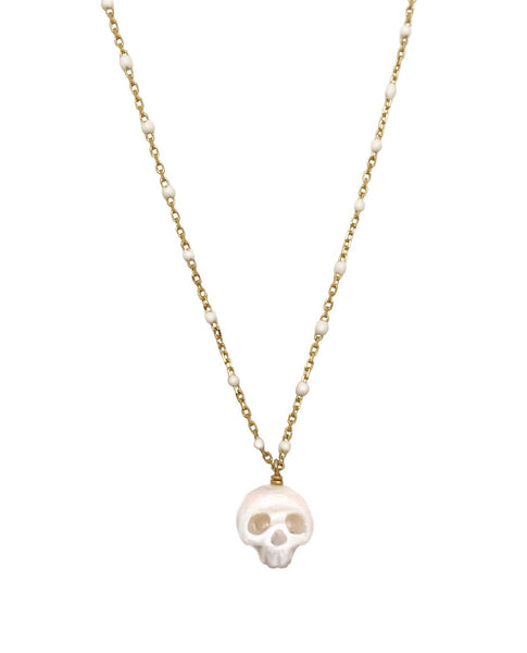Pearl Skull Necklace with White Enamel Chain