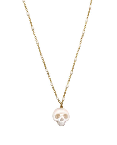 Pearl Skull Necklace Silver- Ready to Ship