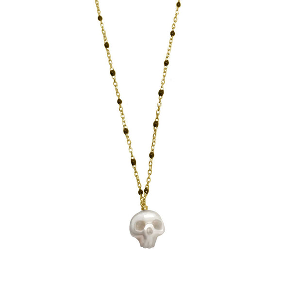 Pearl Skull Necklace Gold- Ready to Ship