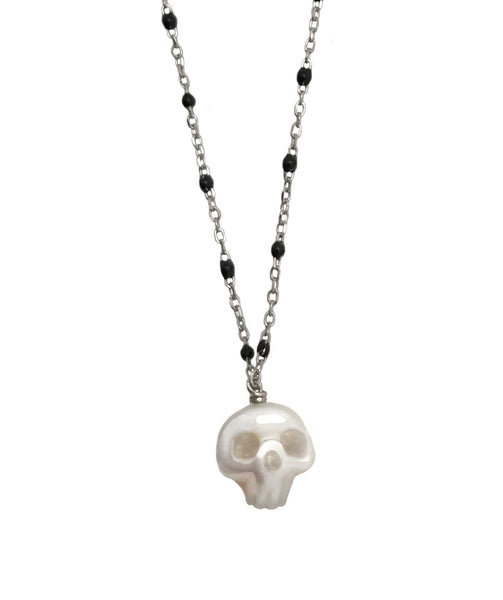 Pearl Skull Necklace Silver