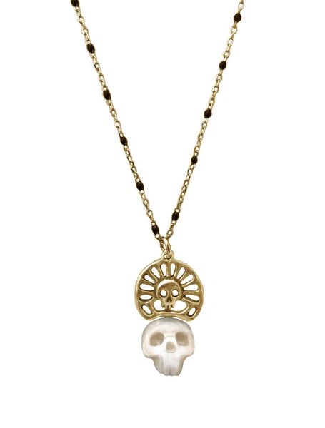 Pearl Skull Necklace with Skull Crown in Gold