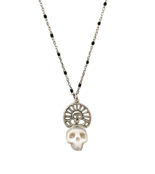 Pearl Skull Necklace with Skull Crown in Gold- Ready to Ship