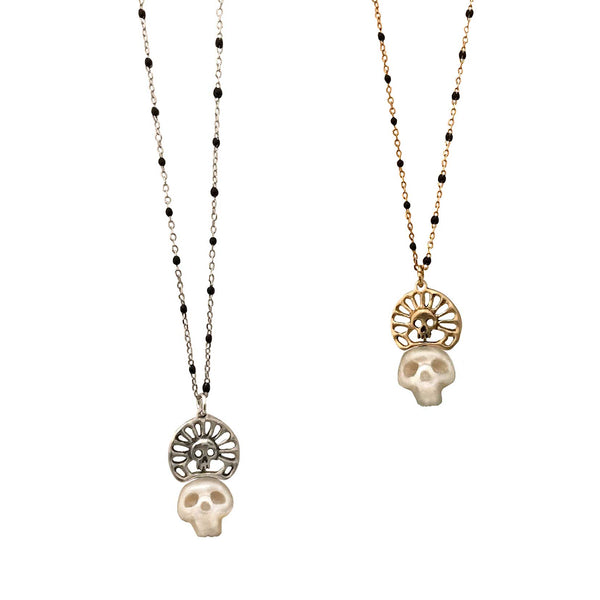 Pearl Skull Necklace with Skull Crown in Gold - Anomaly Jewelry