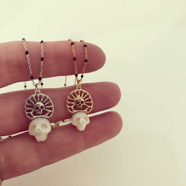 Pearl Skull Necklace with Skull Crown