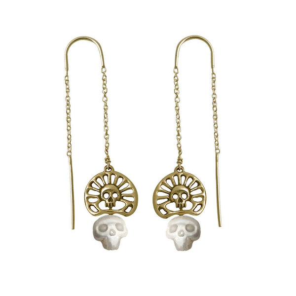 Pearl Skull Earrings with Skull Crown in Gold