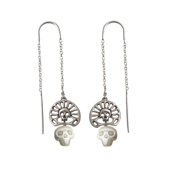 Pearl Skull Earrings with Skull Crown- Ready to Ship