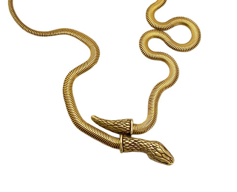 Snake Chain Necklace in black & gold- Ready to Ship