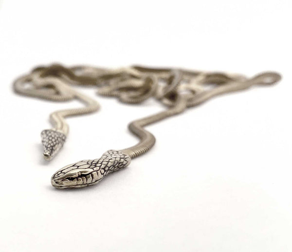 Snake Lariat Necklace in silver