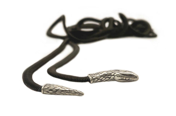 Snake Lariat Necklace in silver & black
