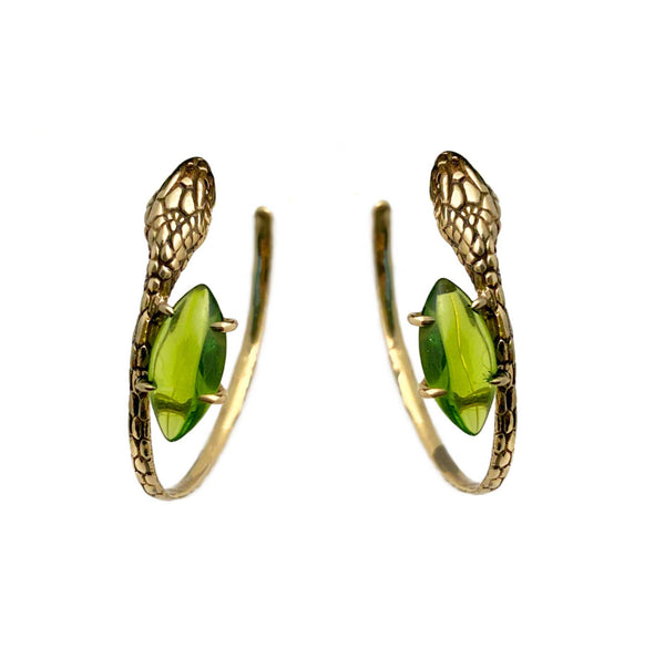 Snake and Stone Hoop Earrings in Lime & Gold