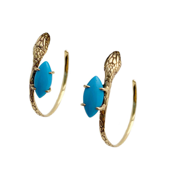 Snake and Stone Hoop Earrings in Turquoise