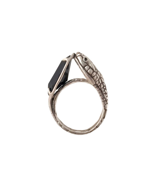 Snake and Stone Ring Onyx