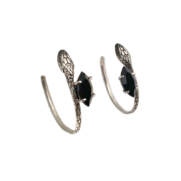Snake and Stone Hoop Earrings in Onyx & Gold