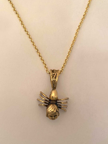 Spider Girl Necklace in Gold Tone