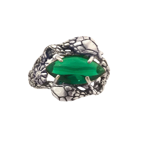 Two Snakes Ring Emerald