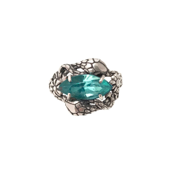 Two Snakes Ring Aquamarine