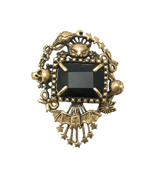 Cornucopia Ring Wide Onyx- Ready to Ship